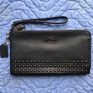 Coach Lacquer Rivets Double L-Zip Wallet, NWOT